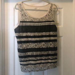 Loft sleeveless black and white top